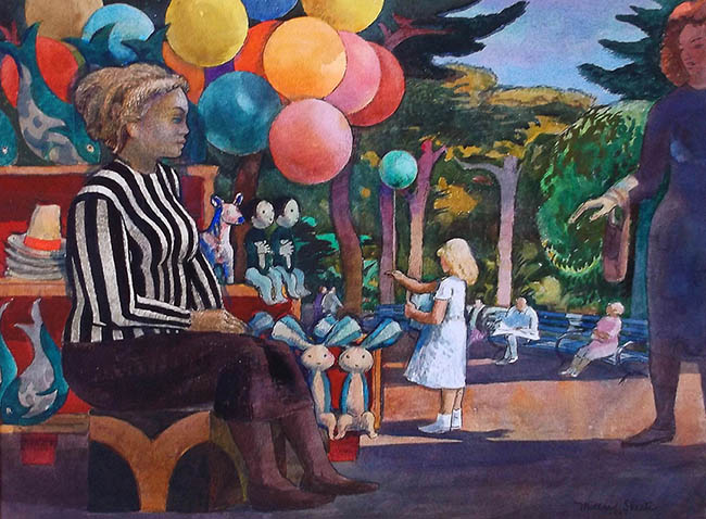 Millard Sheets - Balloon Woman at the Zoo